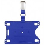 Card Holder with Lanyard - blue